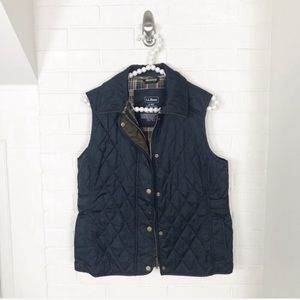 {L.L.Bean} Quilted Preppy Button Front Vest